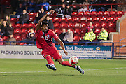 York City forward Vadaine Oliver with an attempt on goal  during the Sky Bet League 2 match between York City and Dagenham and Redbridge at Bootham Crescent, York, England on 20 October 2015. Photo by Simon Davies.