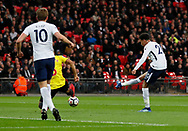 Dele Alli of Tottenham scores the first goal during the premier league match at Wembley Stadium, London. Picture date 30th April 2018. Picture credit should read: David Klein/Sportimage