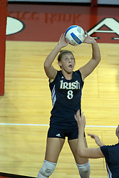 15 October 2005: Notre Dame Fighting Irish Ashley Tarutis gets a good set. The Fighting Irish of Notre Dame knocked out the Illinois State Redbirds in 4 games.  The match was filled with several action packed vollies. A resonable fan base was on hand for this rare Monday evening competition at Redbird Arena on the campus of Illinois State University in Normal IL