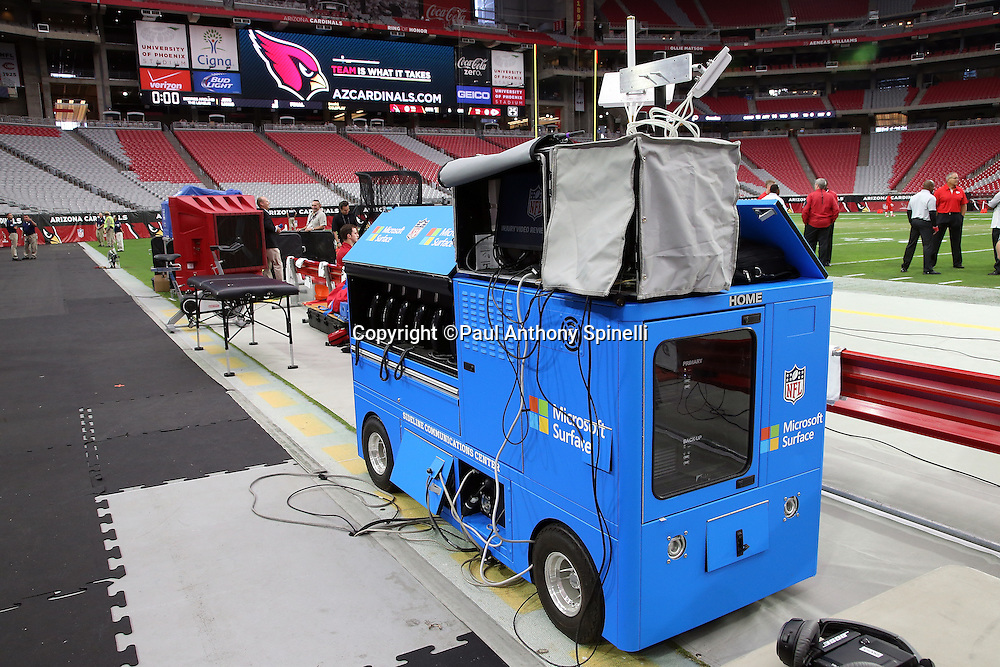 A sideline communication center cart is in place and ready for the Arizona Cardinals 2015 NFL preseason football game against the Kansas City Chiefs on Saturday, Aug. 15, 2015 in Glendale, Ariz. The Chiefs won the game 34-19. (©Paul Anthony Spinelli)