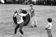 Kids playing around, at Glastonbury, 1989.