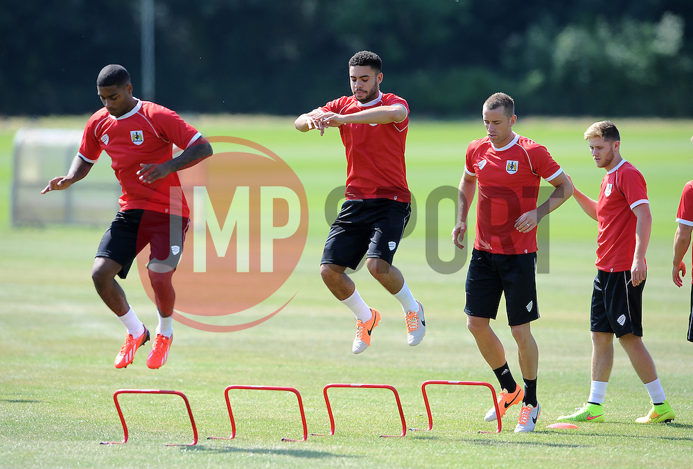 Bristol City's Mark Little  (left) and Bristol City's Derrick Williams (centre) Bristol City's Aaron Wilbraham (right) - Photo mandatory by-line: Dan Rowley/JMP - Tel: Mobile: 07966 386802 02/07/2014 - SPORT - FOOTBALL - Bristol -  Bristol City Training