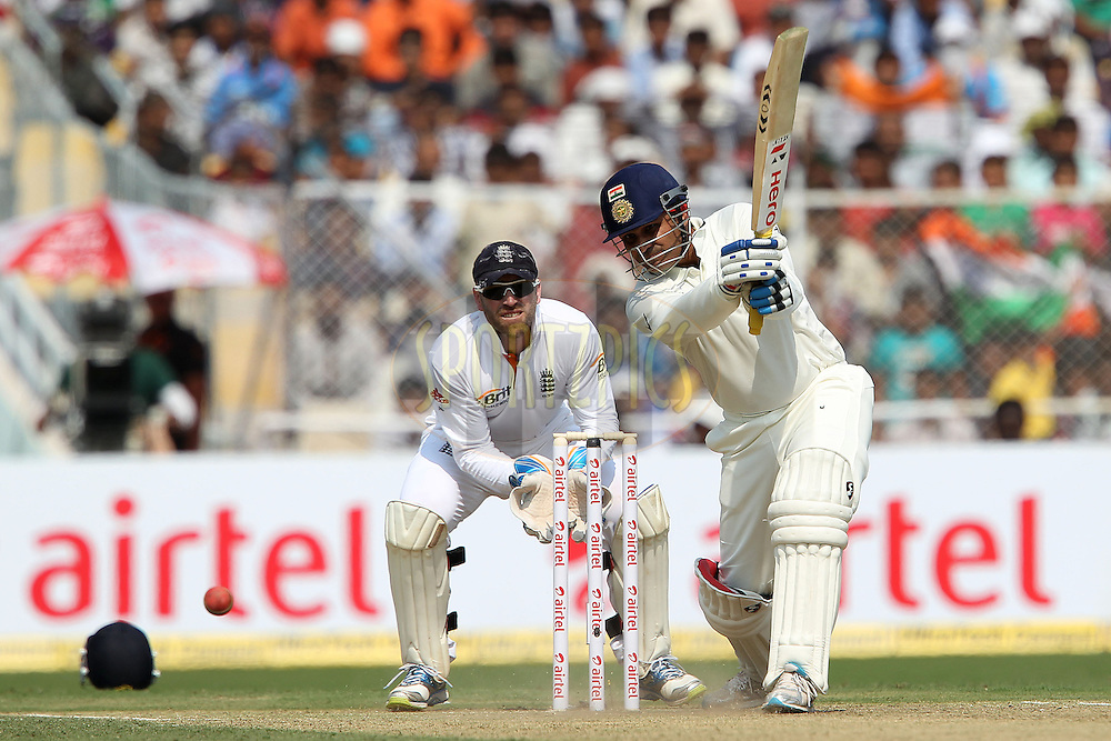 Virender Sehwag of India knocks Graeme Swann of England for four during day one of the 1st Airtel Test Match between India and England held at the Sadar Patel Stadium in Ahmedabad, Gujarat, India on the 15th November 2012...Photo by Ron Gaunt/ BCCI/ SPORTZPICS
