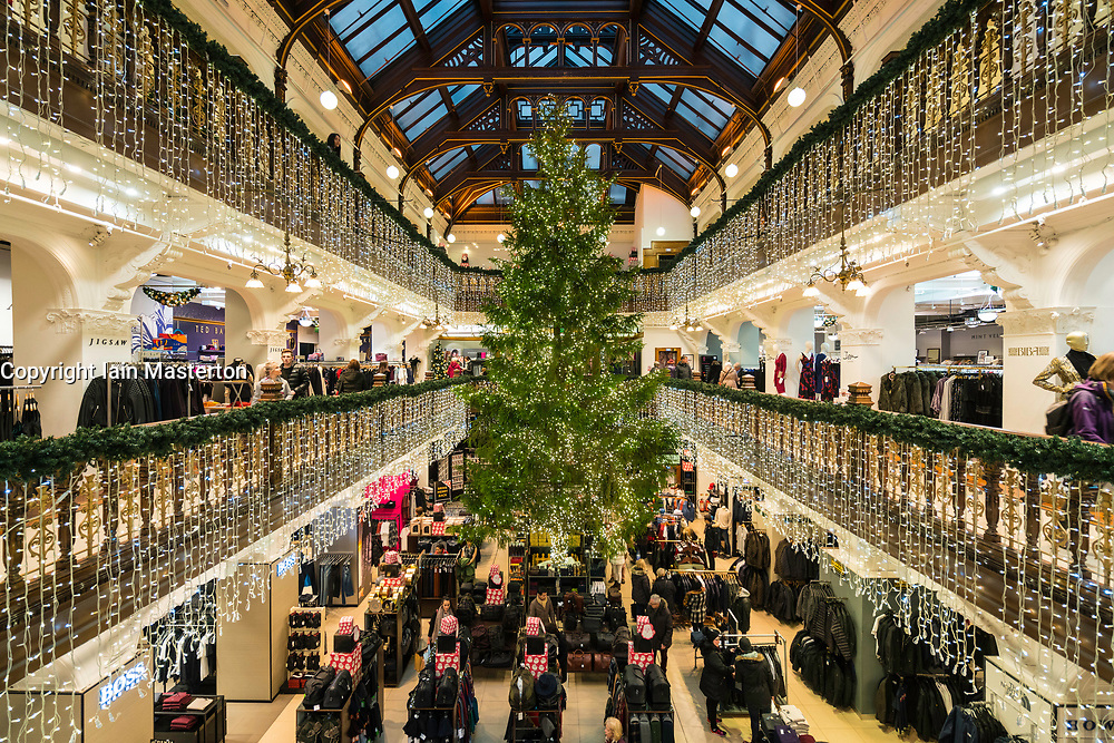 Christmas tree in atrium of Jenners department Store in Edinburgh, Scotland, United Kingdom