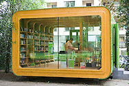 "Europe, Germany, Cologne, Germany's first kiosk for books called minibib at the Stadtgarten [at the ""minibib"" people can  lend books for free. No personal datas will be recorded, no library card is needed. It is an instrument by the municipal library to promoting literacy].....Europa, Deutschland, Koeln, Deutschlands erstes Buecherbuedchen minibib im Stadtgarten [bei der ""minibib"" handelt es sich um ein neues Instrument zur Lesefoerderung der Stadtbibliothek Koeln, das deutschlandweit einzigartig ist.  Es werden kostenlos Buecher verliehen, die nach spaetesten zwei Wochen zurueckgegeben werden muessen. Dazu werden weder Personalien erfasst noch ein Ausweis zur Ausleihe ausgestellt]. ....[For each usage of my images the General Terms and Conditions are mandatory.]"