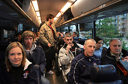 Manca Marc, Andrej Brodnik, Milan Dragan, Drago Terlikar and dr. Ladislav Simnic at Slovenian National team packing and going from Citadel Hotel to the Halifax airport, when they finished with games at IIHF WC 2008 in Halifax, on May 11, 2008, Canada. (Photo by Vid Ponikvar / Sportal Images)