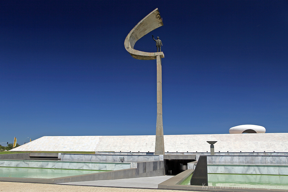 South America, Brazil, Brasilia. Juscelino Kubitschek Memorial in Brasilia, a UNESCO World Heritage Site.