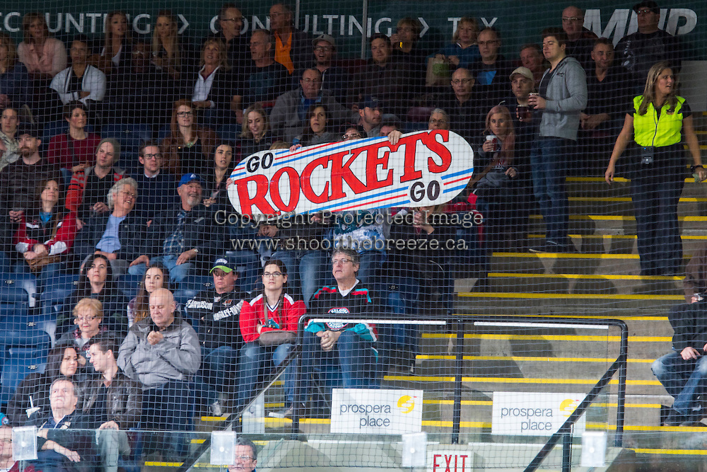 KELOWNA, CANADA - MARCH 14: Fans cheer on the Kelowna Rockets against the Kamloops Blazers on March 14, 2015 at Prospera Place in Kelowna, British Columbia, Canada.  (Photo by Marissa Baecker/Shoot the Breeze)  *** Local Caption *** fans