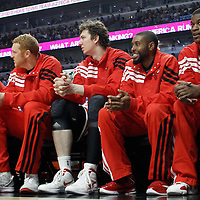 12 March 2012: The Bench Mob - Chicago Bulls point guard John Lucas (15), Chicago Bulls power forward Brian Scalabrine (24), Chicago Bulls center Omer Asik (3), Chicago Bulls point guard C.J. Watson (7) and Chicago Bulls guard Jimmy Butler (21) - is seen on the bench during the Chicago Bulls 104-99 victory over the New York Knicks at the United Center, Chicago, Illinois, USA.