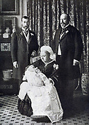 Four generations of British monarchs, 1894. Queen Victoria holding infant future  Edward VIII, flanked by, right,   her son the future Edward VII,  and her grandson the future George V.