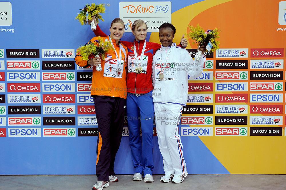 06-03-2009 ATLETIEK: EK INDOOR: TURIJN <br /> Jolanda Keizer wint de zilveren medaille op het onderdeel meerkamp, Anna Bogdanova RUS goud en Antoinette Nana Djimou FRA brons<br /> &copy;2009-WWW.FOTOHOOGENDOORN.NL