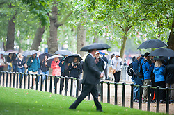 © Licensed to London News Pictures. 04/06/2014. Westminster, UK. People watching the parade were caught out by rain showers.  Queen Elizabeth II being driven down The Mall in the new Diamond Jubilee State Coach to attend the State Opening of Parliament on June 4th 2014 in London. In a speech to Members of Parliament and Peers in The House of Lords, Queen Elizabeth II will officially open a new session of parliament, which will set out the government's agenda and legislation for the coming year.. Photo credit : Stephen Simpson/LNP