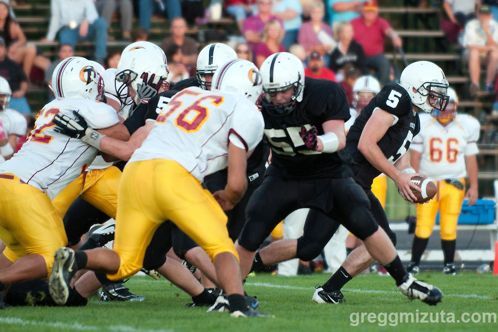 Vale lineman Dayce George prepares to block Ontario's Dee Stephens at Frank Hawley Stadium in Vale, OR on September 16, 2011.