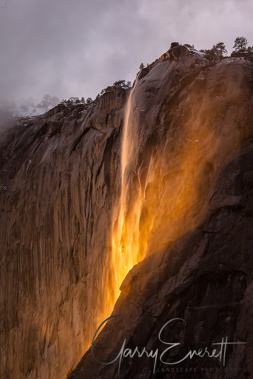 Sunset at Horsetail Fall 2017, dramatic and usual lighting of the falls from the bottom up as opposed from left to right