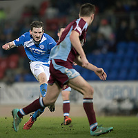 St Johnstone v Stenhousemuir…21.01.17  McDiarmid Park  Scottish Cup<br />Blair Alston shoots wide of the post<br />Picture by Graeme Hart.<br />Copyright Perthshire Picture Agency<br />Tel: 01738 623350  Mobile: 07990 594431