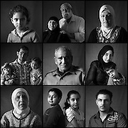 Egypt/ UNHCR Office/ Cairo/ Syrian refugees pose for portraits Nov 9, 2014 at the UNHCR office in Cairo, Egypt.  (Top row, left to right) Joury, age 5, Adham Mohamed Gamil and wife Entesar Mando ages 70 and 56, Falek Raafat El Basyoumy, age 48, (middle row, left to right) Ahmed Akram Arafa (c, age 28) with disabled son Akram, age 2 and daughter Haneen, age 4, Mahmoud Abu Mahmoud el Houmousy, age 74, Ghadeer Abdel Dayem, age 23 and her son Oday, age 5, (bottom row- l to r) Amira El Hamwi, age 70, Dia and Walaa ages 13 and 10, Mohamed Samer Ayoubi, age 21. UNHCR/Scott Nelson/ November 2014