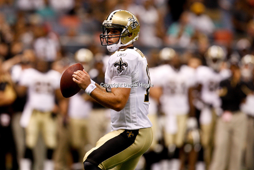 August 21, 2010; New Orleans, LA, USA; New Orleans Saints quarterback Chase Daniel (10) during a 38-20 win by the New Orleans Saints over the Houston Texans during a preseason game at the Louisiana Superdome. Mandatory Credit: Derick E. Hingle