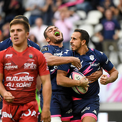 Ryan CHAPUIS of Stade Francais and Kylan HAMDAOUI of Stade Francais celebrate during the Top 14 match bewteen at Stade Jean Bouin on October 13, 2019 in Paris, France. (Photo by Anthony Dibon/Icon Sport) - Ryan CHAPUIS - Kylan HAMDAOUI - Stade Jean Bouin - Paris (France)