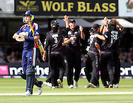 Photo © ANDREW FOSKER / SECONDS LEFT IMAGES 2008  - England's captain Kevin Pietersen (6 runs) makes the long walk back to the pavilion as New Zealand celebrate the key wicket caught by Jacob Oram and bowled by Tim Southee -   England v New Zealand Black Caps - 5th ODI - Lord's Cricket Ground - 28/06/08 - London -  UK - All rights reserved
