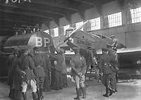 H767<br /> <br /> Bremen Flight 1928.<br /> <br /> View of plane in hangar with people onlooking.<br /> <br /> (The first east-west non-stop transatlantic flight, in April 1928, from Baldonnel, Ireland to Greenly Island, Canada, in a Junkers W 33 monoplane, the &quot;Bremen&quot;. Crew of the Bremen: Pilot Capt. Herman K&ouml;hl, Navigator Col. Major James Fitzmaurice and Baron Ehrenfried G&uuml;nther Freiherr von H&uuml;nefeld, Owner of the plane).<br /> <br /> The Bremen left Baldonnel Aerodrome, Ireland on April 12 and flew to Greenly Island, Canada, (about 1,200 miles from New York) arriving on April 14, 1928, after a flight fraught with difficult conditions and compass problems. The crew consisted of pilot Captain Hermann K&ouml;hl; the navigator, Major James Fitzmaurice, and the owner of the aircraft, Ehrenfried G&uuml;nther Freiherr von H&uuml;nefeld.<br /> (Part of the NPA and Independent Newspapers)