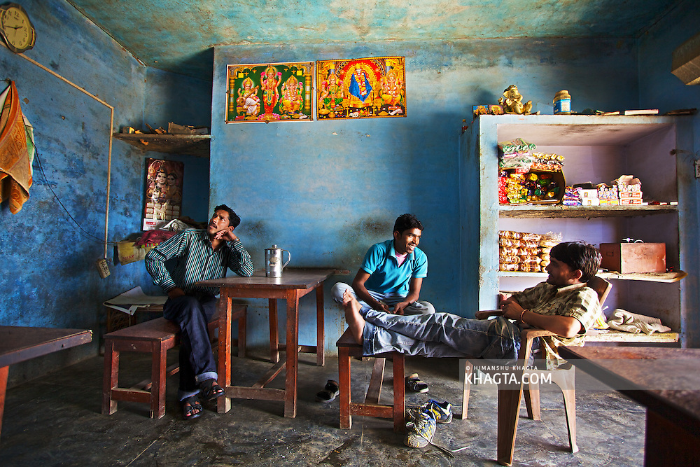 Locals having a chat at a Dhaba near Rishikesh, Uttarakhand