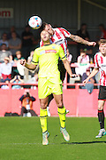 Lois Maynard and Lee Vaughan during the Vanarama National League match between Cheltenham Town and Tranmere Rovers at Whaddon Road, Cheltenham, England on 26 September 2015. Photo by Antony Thompson.