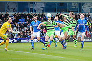 Forest Green Rovers Christian Doidge(9) goes for the ball during the Vanarama National League match between Macclesfield Town and Forest Green Rovers at Moss Rose, Macclesfield, United Kingdom on 12 November 2016. Photo by Shane Healey.