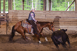May 21, 2017 - Minshall Farm Cutting 4, held at Minshall Farms, Hillsburgh Ontario. The event was put on by the Ontario Cutting Horse Association. Riding in the 25,000 Novice Horse Non-Pro Class is Rosalee Munch on Xrey owned by the rider.