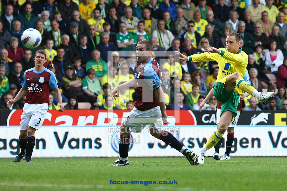 Picture by Paul Chesterton/Focus Images Ltd.  07904 640267.13/05/12.Aaron Wilbraham of Norwich has a shot on goal during the Barclays Premier League match at Carrow Road Stadium, Norwich.