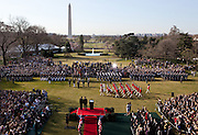 14.MARCH.2012. WASHINGTON D.C<br /> <br /> PRESIDENT BARACK OBAMA AND PRIME MINISTER DAVID CAMERON OF THE UNITED KINGDOM WATCH THE U.S. ARMY FIFE AND DRUM CORPS PASS DURING THE OFFICIAL ARRIVAL CEREMONY ON THE SOUTH LAWN, MARCH 14, 2012. <br /> <br /> BYLINE: EDBIMAGEARCHIVE.COM<br /> <br /> *THIS IMAGE IS STRICTLY FOR UK NEWSPAPERS AND MAGAZINES ONLY*<br /> *FOR WORLD WIDE SALES AND WEB USE PLEASE CONTACT EDBIMAGEARCHIVE - 0208 954 5968*