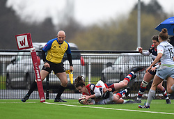 Cat McNaney of Bristol Ladies closes in to score a try - Mandatory by-line: Paul Knight/JMP - 30/03/2018 - RUGBY - Shaftsbury Park - Bristol, England - Bristol Ladies v Saracens Women - Tyrrells Premier 15s