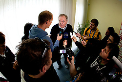 Bozidar Maljkovic, coach of Slovenia talks to journalists at press conference after last game of Slovenian basketball team during FIBA Europe Eurobasket Lithuania 2011, on September 18, 2011, in Kaunas, Lithuania. (Photo by Vid Ponikvar / Sportida)
