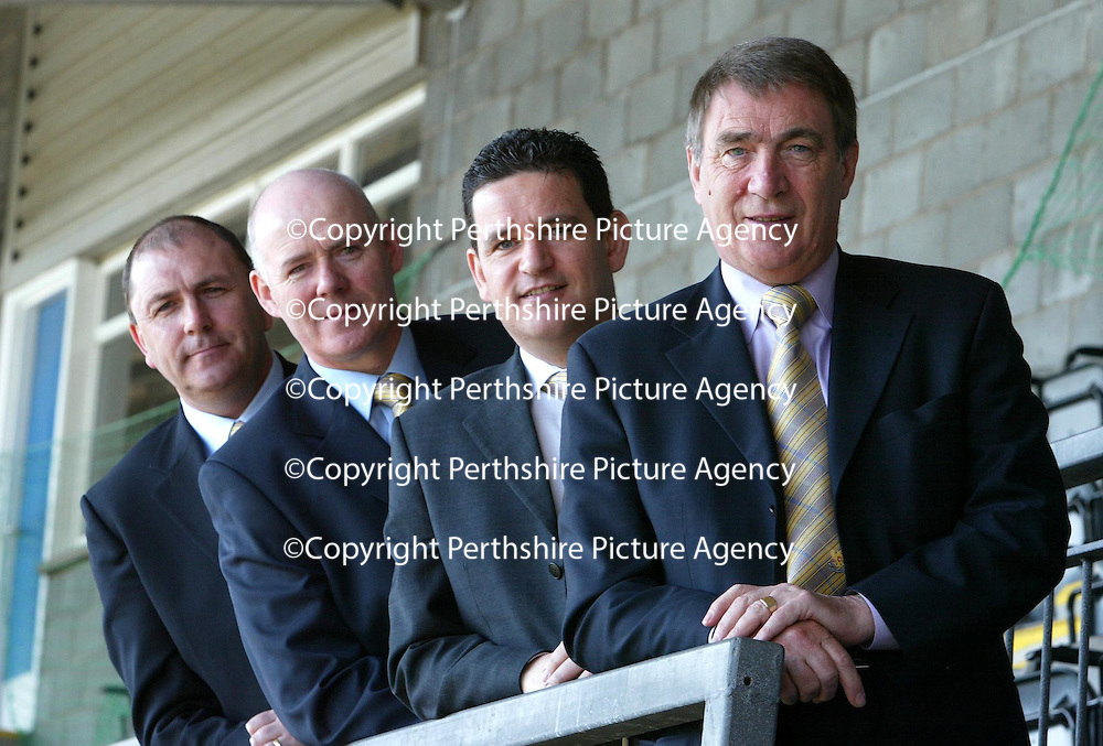 New Directors at St Johnstone FC...<br />Pictured from left, Steve Park, Charlie Gallagher. Steve Brown pictured with Chairman Geoff Brown.<br />see story by Gordon Bannerman Tel: 01738 553978 or 07729 865788<br />Picture by Graeme Hart.<br />Copyright Perthshire Picture Agency<br />Tel: 01738 623350  Mobile: 07990 594431
