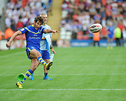 Warrington Wolves Stefan Ratchford kicks a conversion during the Ladbrokes Challenge Cup Semi-Final  match Warrington Wolves -V- Wakefield Trinity Wildcats at , Leigh, Greater Manchester, England on Saturday, July 30, 2016. (Steve Flynn/Image of Sport)