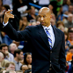 Mar 29, 2013; New Orleans, LA, USA; New Orleans Hornets head coach Monty Williams against the Miami Heat during the second quarter of a game at the New Orleans Arena. Mandatory Credit: Derick E. Hingle-USA TODAY Sports