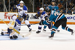 March 19, 2011; San Jose, CA, USA;  St. Louis Blues goalie Jaroslav Halak (41) saves a shot from San Jose Sharks center Logan Couture (39) during the first period at HP Pavilion. Mandatory Credit: Jason O. Watson / US PRESSWIRE