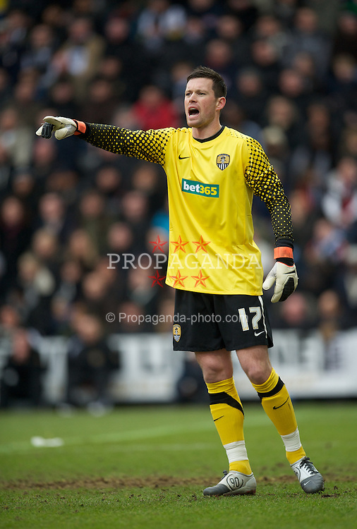 NOTTINGHAM, ENGLAND - Sunday, January 30, 2011: Notts County's goalkeeper Stuart Nelson in action against Manchester City during the FA Cup 4th Round match at Meadow Lane. (Photo by David Rawcliffe/Propaganda)