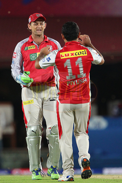 Adam Gilchrist celebrates the wicket of Ben Rorher during match 67 of the Pepsi Indian Premier League between The Kings XI Punjab and the Delhi Daredevils held at the HPCA Stadium in Dharamsala, Himachal Pradesh, India on the on the 16th May 2013..Photo by Ron Gaunt-IPL-SPORTZPICS ..Use of this image is subject to the terms and conditions as outlined by the BCCI. These terms can be found by following this link:..http://www.sportzpics.co.za/image/I0000SoRagM2cIEc