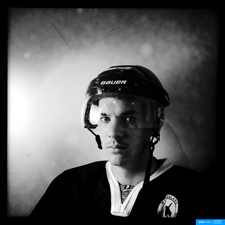 Ice Men Cometh… James Currey, 18, New Zealand..An iPhone portrait series on young men competing in the 2012 IIHF Ice Hockey World Championships Division 3. The tournament  was contested by countries New Zealand, Iceland, China, Bulgaria and Turkey at Dunedin Ice Stadium. Dunedin, Otago, New Zealand. 17th January 2012. Photo Tim Clayton