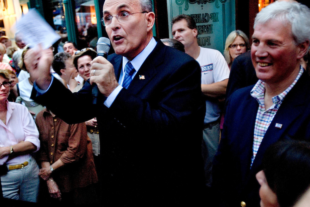 Rudy Guiliani campaigning in Naples, Florida..Photographer Chris Maluszynski /MOMENT