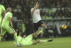 Brightons Lewis Dunk brings down  Derby Chris Martin, ,  Derby County v Brighton &Hove Albion, IPro Stadium, Sky Bet Championship,  Saturday 12th December 2015