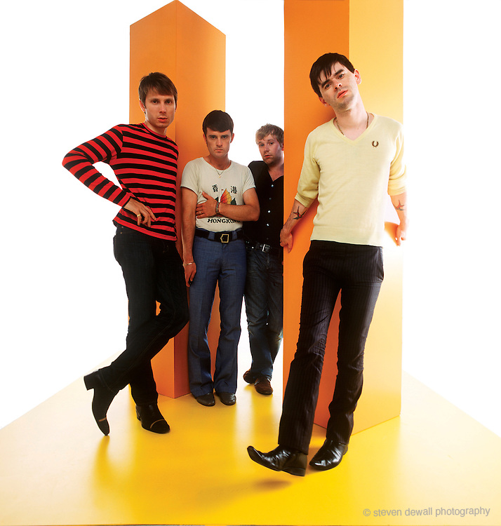 """Franz Ferdinand photographed in Hollywood, CA. for Filter Magazine cover """"Who Shot Franz Ferdinand"""" in 2005. I created the set and lighting and had the band use a remote to take their own photos."""
