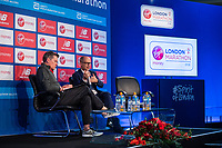 Race Director Hugh Brasher being interviewed by Tim Hutchings at a press conference at the Guoman Tower Hotel for the winners of the Virgin Money London Marathon, 23 April 2018.<br /> <br /> Photo: Thomas Lovelock for Virgin Money London Marathon<br /> <br /> For further information: media@londonmarathonevents.co.uk