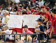 Aug. 12, 2012; Phoenix, AZ, USA; Washington Nationals fans hold up a sign for outfielder Bryce Harper (not pictured) prior to the game against the Arizona Diamondbacks at Chase Field.  Mandatory Credit: Jennifer Stewart-US PRESSWIRE