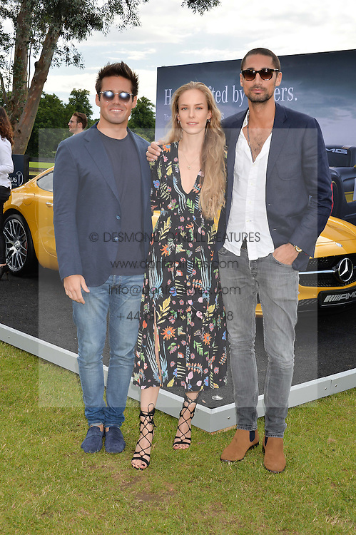 Left to right, SPENCER MATTHEWS, HUM FLEMING and HUGO TAYLOR at the Laureus King Power Cup polo match held at Ham Polo Club, Richmond on 16th June 2016.