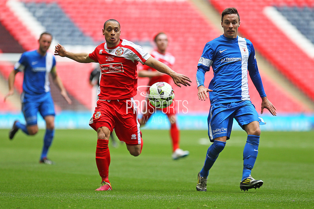 North Shields Denver Morris battles for the ball during the FA Vase Final between Glossop North End and North Shields at Wembley Stadium, London, England on 9 May 2015. Photo by Phil Duncan.