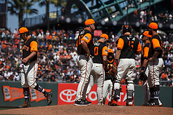 SAN FRANCISCO, CA - AUGUST 26: Derek Holland #45 of the San Francisco Giants is relieved by manager Bruce Bochy #15 during the seventh inning against the Texas Rangers at AT&T Park on August 26, 2018 in San Francisco, California. The San Francisco Giants defeated the Texas Rangers 3-1. All players across MLB will wear nicknames on their backs as well as colorful, non-traditional uniforms featuring alternate designs inspired by youth-league uniforms during Players Weekend. (Photo by Jason O. Watson/Getty Images) *** Local Caption *** Derek Holland; Bruce Bochy
