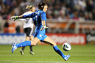 20 October 2012: Hope Solo (USA). The United States Women's National Team played the Germany Women's National Team at Toyota Park in Bridgeview, Illinois in a women's international friendly soccer match. The game ended in a 1-1 tie.