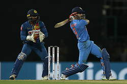 March 12, 2018 - Colombo, Sri Lanka - Indian cricketer  Manish Pandey plays a shot during the 4th Twenty-20 cricket match of NIDAHAS Trophy between Sri Lanka  and India at R Premadasa cricket ground, Colombo, Sri Lanka on Monday 12 March 2018. (Credit Image: © Tharaka Basnayaka/NurPhoto via ZUMA Press)