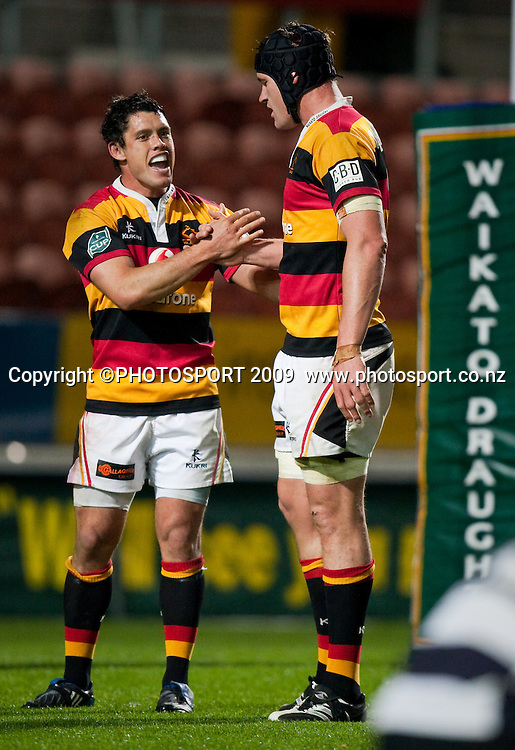 Callum Bruce celebrates with Kevin O'Neill at the end of the Air New Zealand Cup rugby match between Waikato and Hawkes Bay won by Waikato 30-22 at Waikato Stadium, Hamilton, New Zealand, Saturday 05 September 2009. Photo: Stephen Barker/PHOTOSPORT